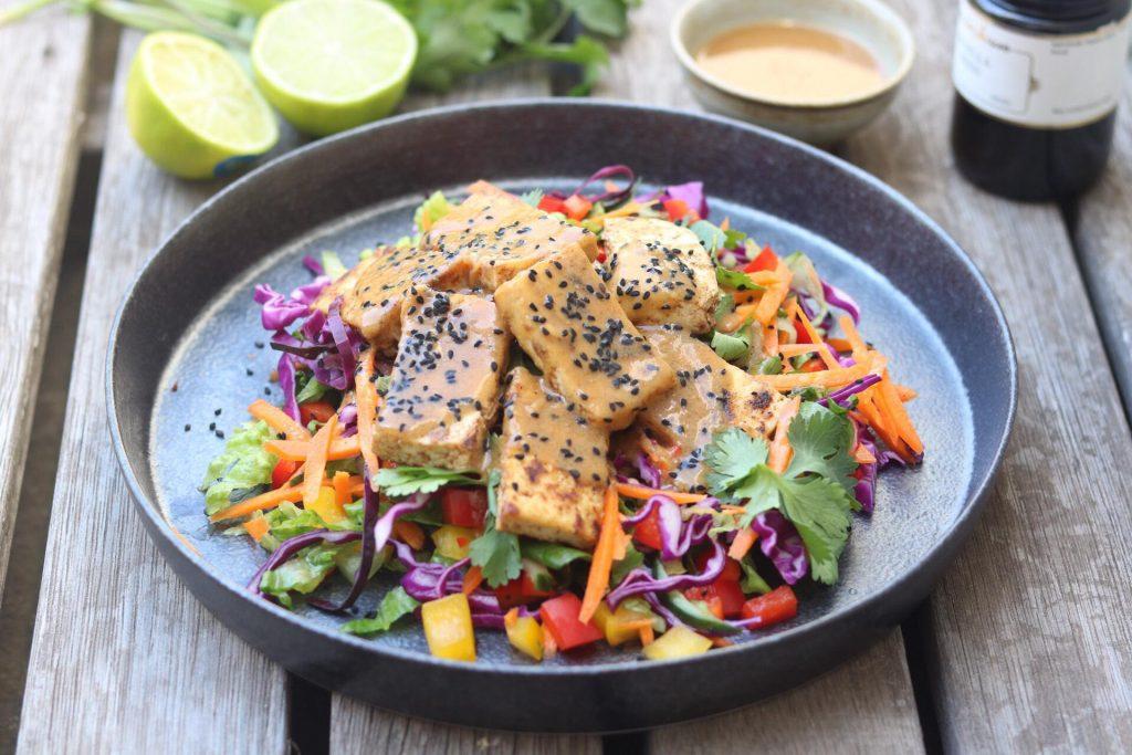 Tofu salad miso dressing